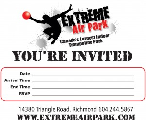 extreme air park richmond invitations. Black Bedroom Furniture Sets. Home Design Ideas